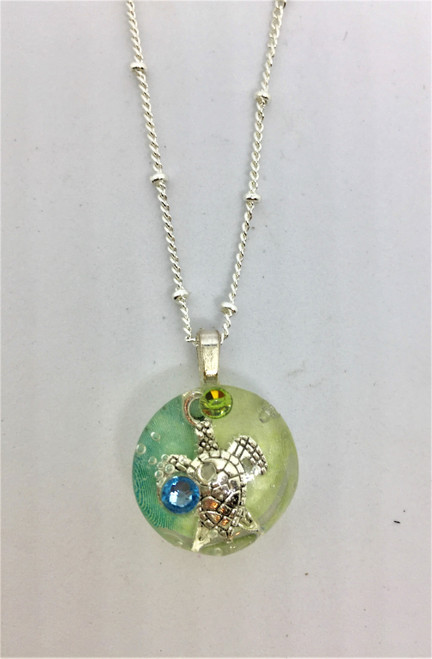 """Best Seller -Summer Days 16 mm Turtle Necklace on 18"""" Silver Plated Chain"""