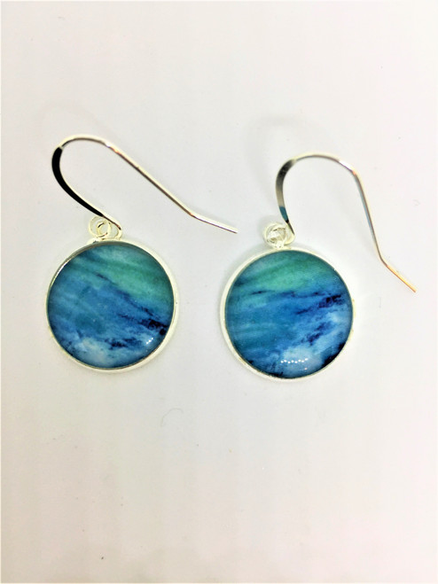 Summer Days 16 mm Blue Dangle Earrings on Sterling Silver French Wires