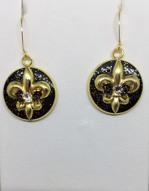 Brenda Wolfe Jewelry, Eve- Fleur de' Lis  Black & Gold 18mm dangle earring with Swarovski crystals