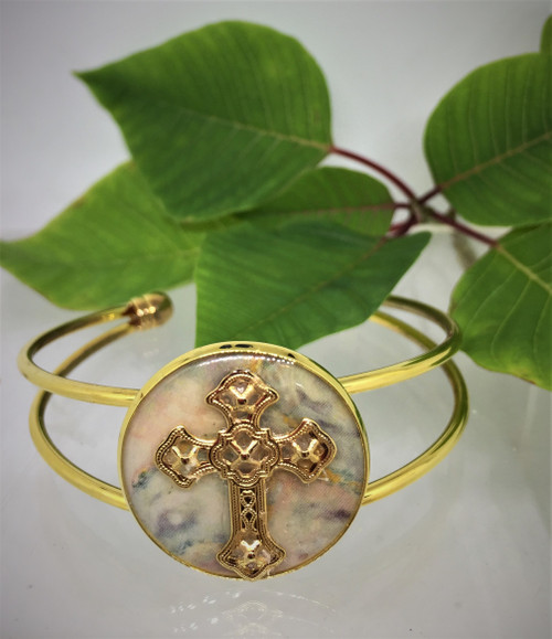 Filigree Cross 25mm Cuff Bracelet| Opal Blue/Gold