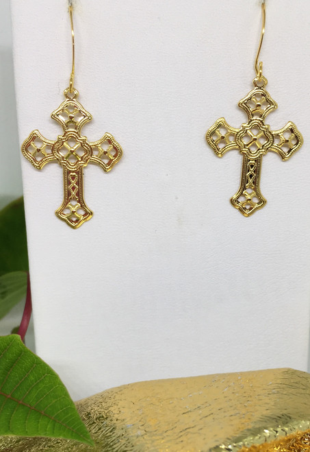 Filigree Cross Dangle Earrings on gold plated french wires