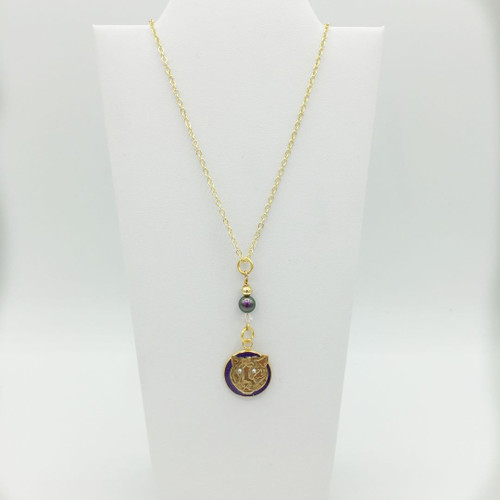 "Drop Necklace on 24"" Gold Plated Chain"