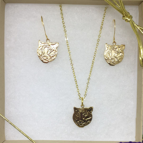 Tiger Head Necklace/Earring Set