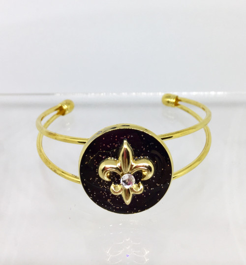 New Orleans Inspired Black & Gold Collection | 25mm Gold Plated Adjustable Cuff Bracelet