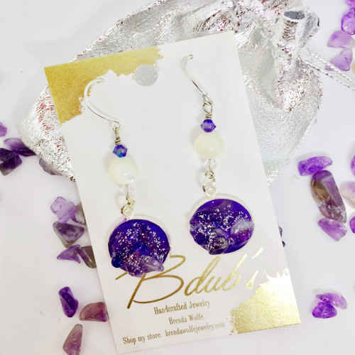 Amethyst-Silver drop earrings on Sterling Silver French Wires