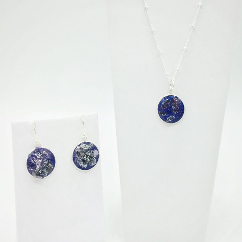 """18mm Necklace-Earring Set/ 18"""" Silver Plated Chain"""