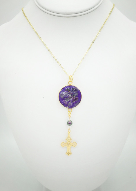 """Filigree Cross Necklace on 30"""" Chain"""
