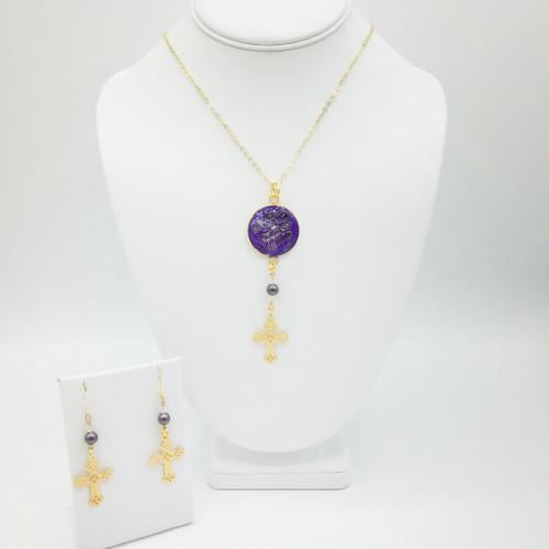 Traci-Amethyst- 25 mm Gold Filigree Cross Necklace-Earring Set
