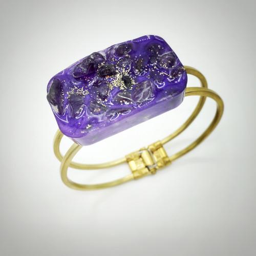 "Rectangle Brass Hinge Bracelet 1""x 1.5"""