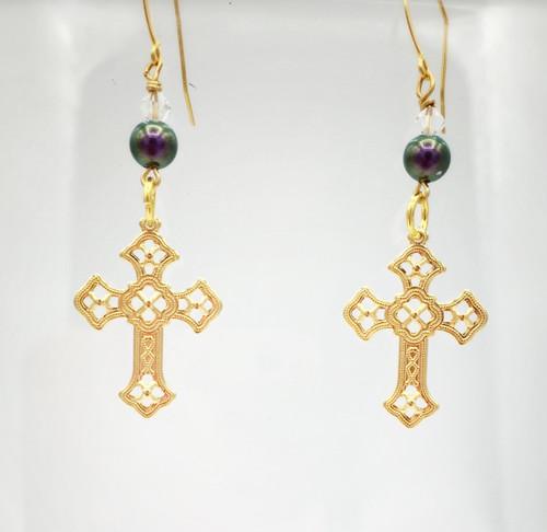 """Gold Filigree Cross/Amethyst Pearl Earrings measures 1.25"""""""