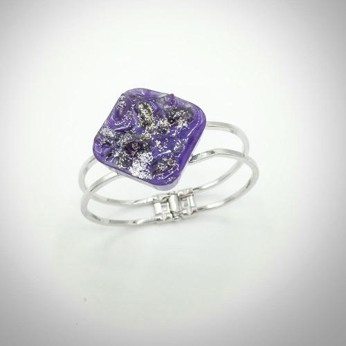 Traci-Amethyst Diagonal  Silver Plated Hinge Bracelet