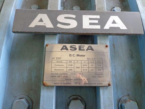 2,800 HP ASEA DC Motor: 53 RPM