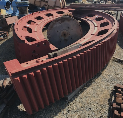 30 x 7 ft Allis Chalmers SAG Mill components with 4079 HP motor, 200 RPM