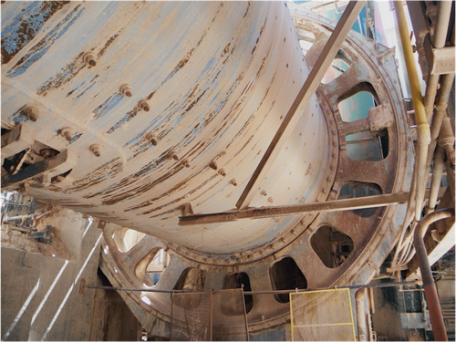 14 x 24 ft Fuller/Traylor ball mill with 2,500 HP