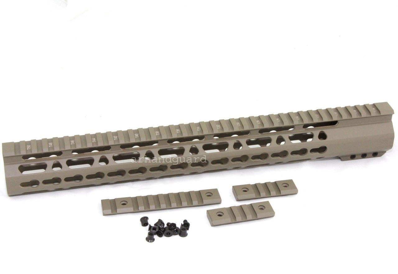 Tan 15 Ultra Light Super Slim Keymod Handguard Free Float Clamp On