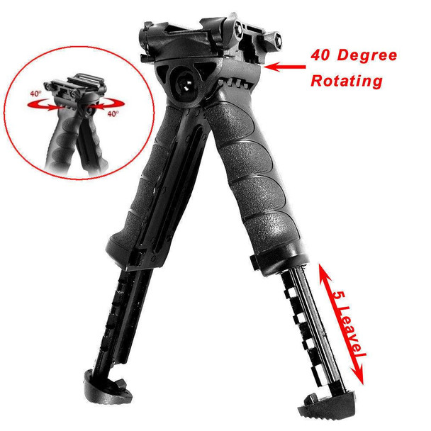Ar15 Rotating Vertical Grip Bipod Rotating Foregrip Adjustable Legs w/ side rail