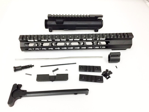 "Upper kit - 12.5"" Slim Keymod Handguard Free Float +upper receiver+gas tube+gas Block AR15 223 5.56"
