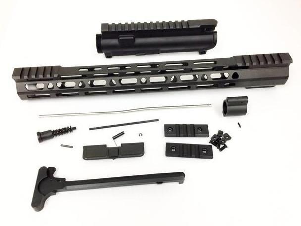 "Upper kit - 15"" Slim Mlok Handguard Free Float +upper receiver+gas tube+gas Block AR15 223 5.56"