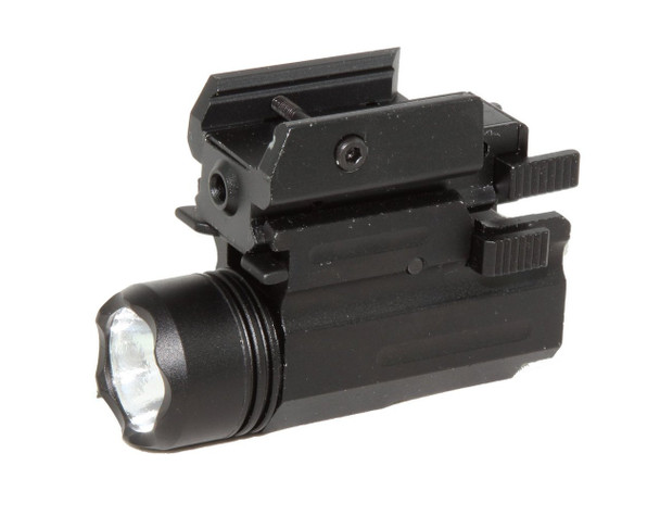 Compact Pistol LED Flashlight with Low Profile Red Laser Sight fits Glock Ruger