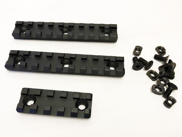 """QTY 3 Aluminum Rails  M-LOK Picatinny Accessory Rail Set, 2x 4"""" 9 Slots, 1x 2.16"""" 5-slot"""