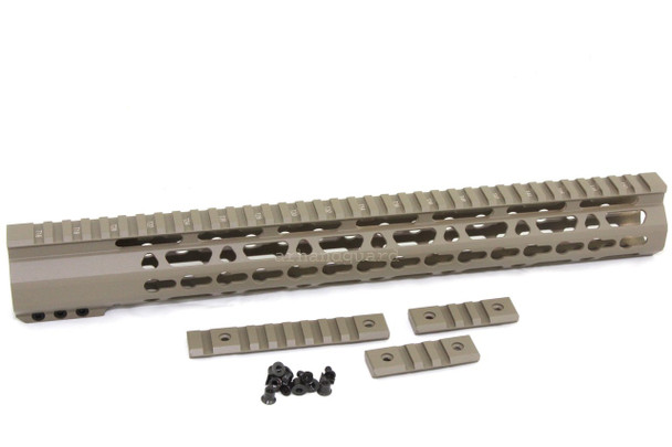 "TAN- 15"" ULTRA-LIGHT Super Slim Keymod Handguard Free Float CLAMP ON style AR15 223 5.56"
