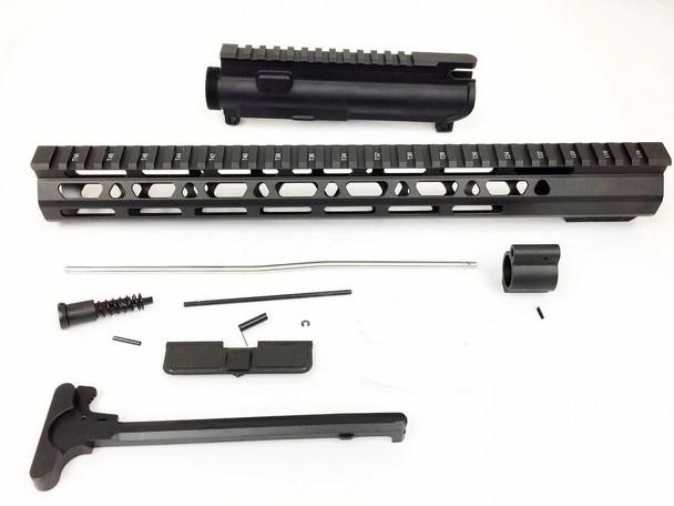 "Upper kit - 15"" Slim Mlok Handguard Free Float +upper receiver+gas tube+gas Block AR15 223 5.56 1"