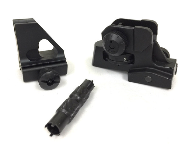 detachable Rear sight Dual apertures w/ LOW Front sight + front sight adjustment tool AR15 223 5.56