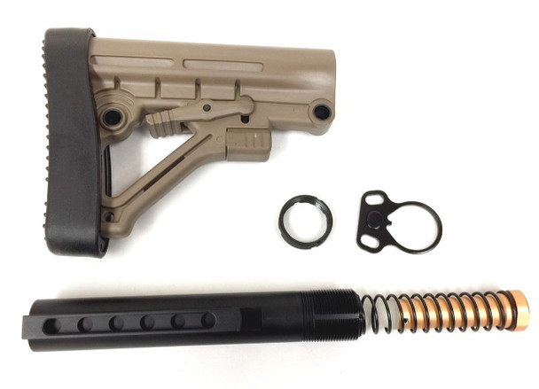 STOCK KIT BUFFER TUBE 6-POSITION KIT MIL SPEC FOR CARBINE STOCK AR15 223 5.56 - TAN