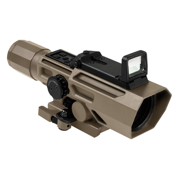 NcSTAR Advance Dual Optic ADO 3X-9X Riflescope w/ Flip Up Red Dot-TAN