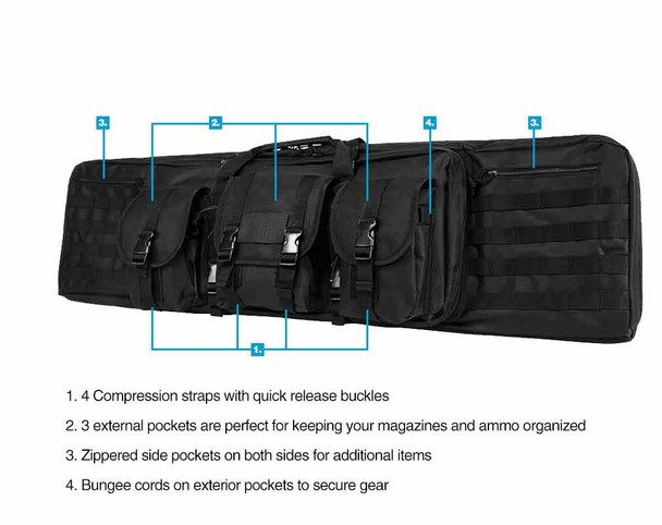 NcStar Tactical Double Padded Carbine Rifle Range Gun Case Bag 42""