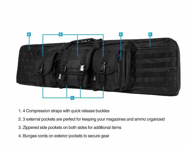 "NcStar Tactical Double Padded Carbine Rifle Range Gun Case Bag 46"""
