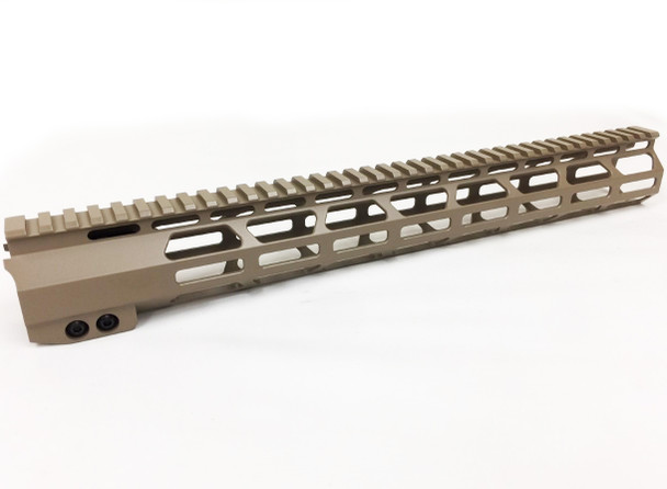 "TAN- 15"" Super Slim MLOK Handguard Free Float Clamp-on style AR15 223 5.56"