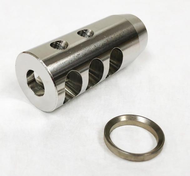 Muzzle Brake - Compact Stainless Steel Muzzle Brake 5/8-24 w/crush washer AR10 308