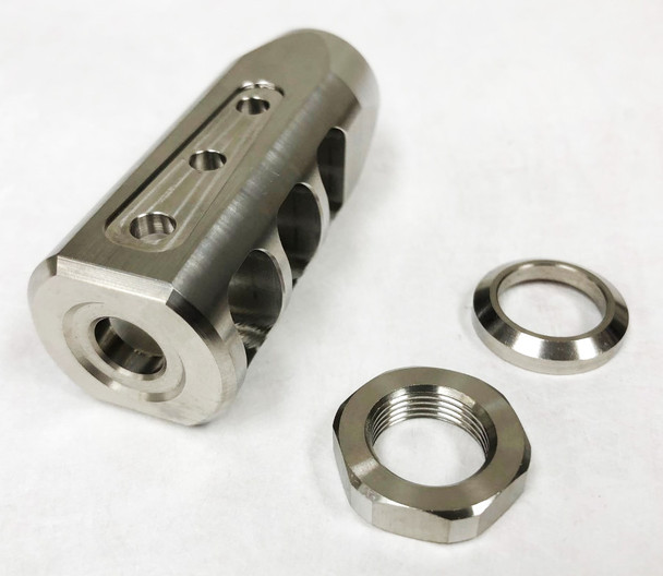 Muzzle Brake - Compact STAINLESS STEEL Muzzle Brake 5/8-24 w/ Jam nut & crush washer AR10 308
