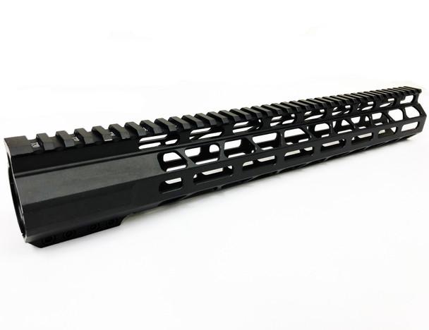 "17"" Super Slim Mlok Handguard Free Float LR-308 HIGH PROFILE- full top rail"