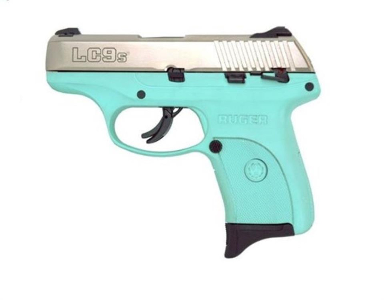 Ruger LC9S 9mm Nickel/Turquoise Adj Sights, 7 Rd Mag