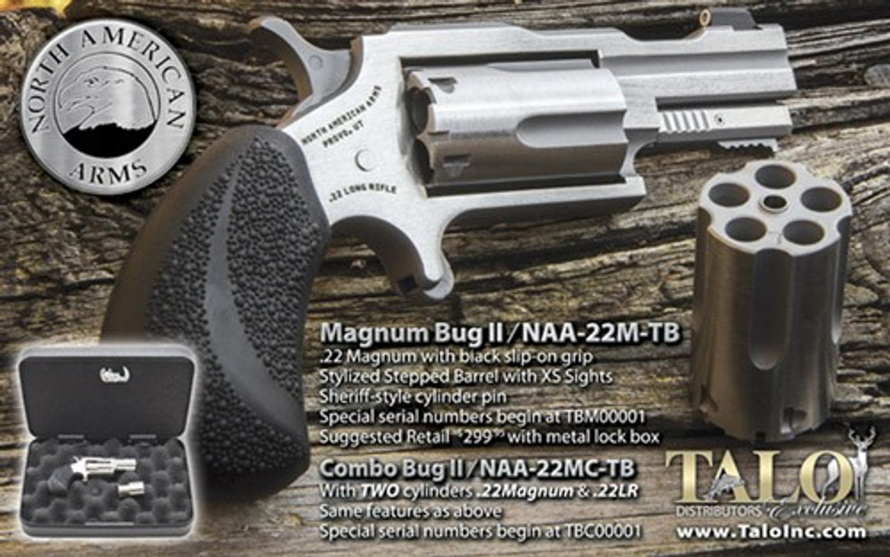 NAA Bug-II Mini Revolver 22Win Mag, Black Grips, Revolver Only