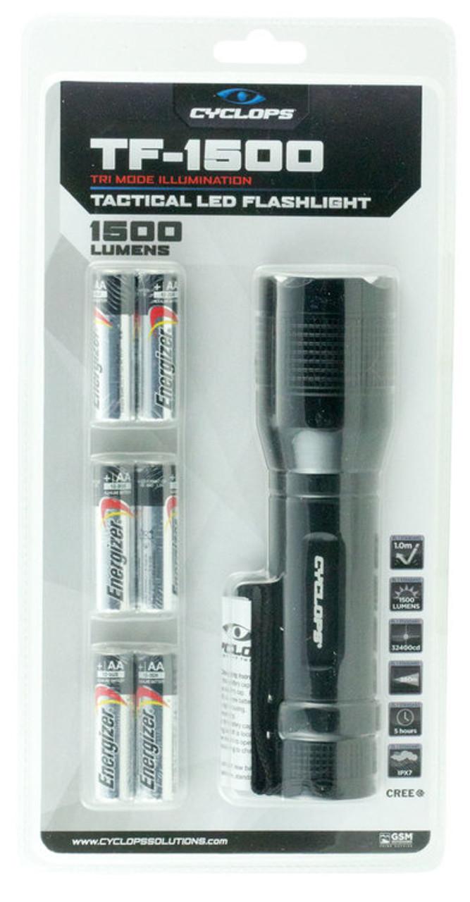 Cyclops Tactical Flashlight 1500 Lumens CREE XHP50 20 Watt LED Bulb CYC-TF1500