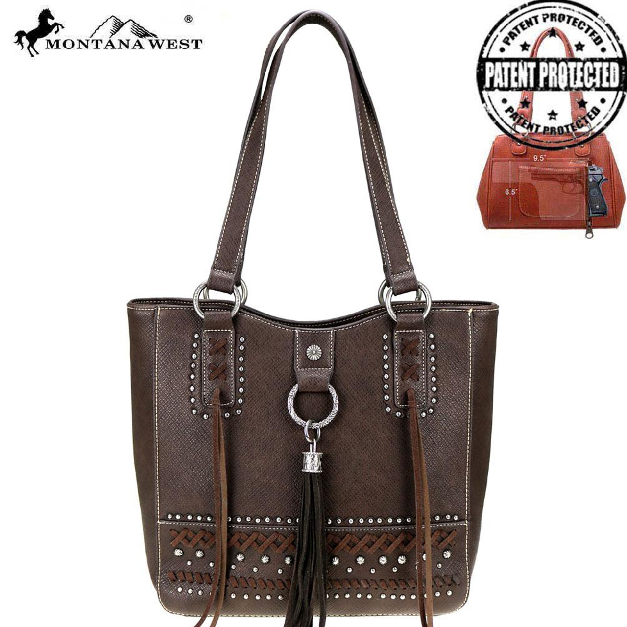Montana West Fringe Collection Concealed Carry Tote - Coffee - Impact Guns 4d36dc1148c14