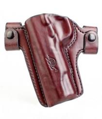 Kimber Premier holster (left hand) for full-size (5-inch) 1911 models QR belt snaps brown leather Kimber logo by Mitch Rosen