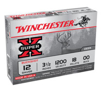 "Winchester Super X Buckshot 12 ga 3.5"" 18 Pellets 00 Buck Shot 5Box"