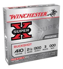 """Winchester Super-X Buckshot 410 ga 2.5"""" 3 Pellets 000 Buck Shot 5rd Box"""