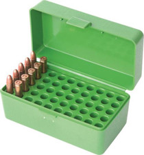 MTM Molded Products Case-Gard Flip Top Rifle Ammo Box For Large Magnum Calibers, Mechanical Hinge, Clear Blue, Holds 50rds