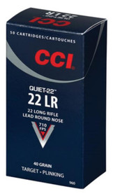 CCI Quiet-22 .22LR 40gr, Lead Roundnose, 50rd/Box