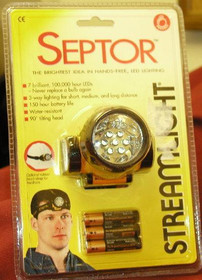 Streamlight Septor with alkaline batteries. Rubber & Elastic straps. Yellow