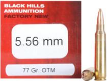 Black Hills Factory New Rifle Ammo, 5.56x45mm Nato, 77 Gr, Sierra Open Tip Match, 50rd Box