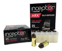 Polycase Inceptor ARX Self Defense Ammo, .380 ACP 56 Gr, 25rd box