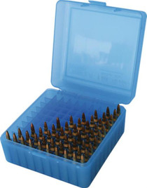MTM Case Gard Rifle Ammo Box .22-250/.308/.243, Clear Blue