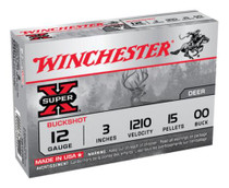 "Winchester Super X Buckshot 12 ga 3"" 15 Pellets 00 Buck Shot 5rd Box"