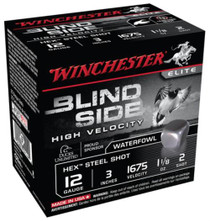 "Winchester Blind Side Steel Hex High Velocity Waterfowl 12 Ga, 3"", 1675 FPS, 1.125oz, 2 Shot, 25rd/Box"